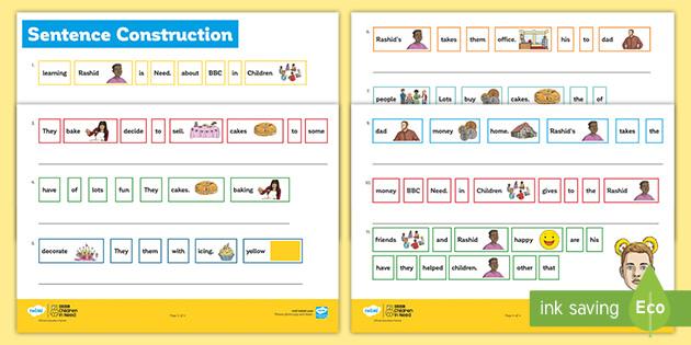 BBC Children in Need Sentence Construction Worksheet