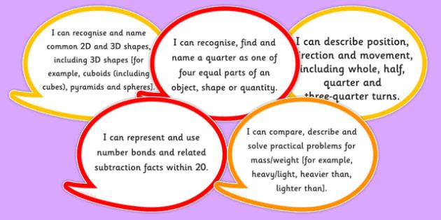 New Curriculum Year 1 Maths Assessment I Can Speech Bubbles - new curriculum, year 1, maths, assessment, i can, speech bubbles