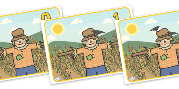 Scarecrow Number Posters (0-20) - Scarecrow, counting, 0-20, autumn, counting, activity, how many, foundation numeracy, counting on, counting back,  harvest, harvest festival, fruit, apple, pear, orange, wheat, bread, grain, leaves, conker