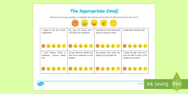 The Appropriate Emoji Activity Sheet - Social Skills, social, text message, texting, emoji, smiley, apathy, moji
