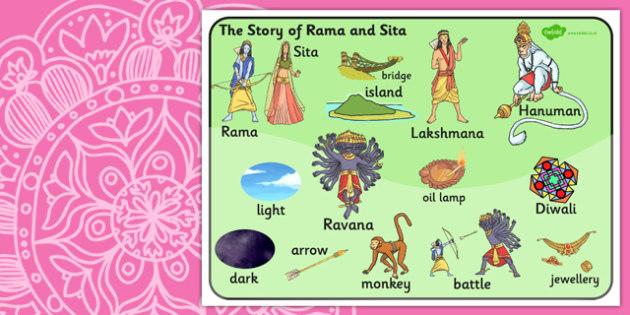 The Story of Rama and Sita Word Bank - diwali, hinduism, religion