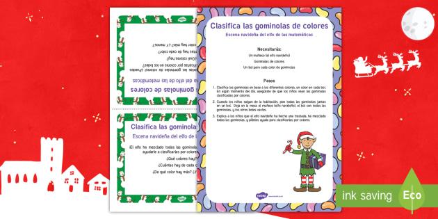 Escena matemática con el elfo navideño: Clasifica las gominolas de colores  - numeros, problemas matemáticos, navidad, navideño, Spanish