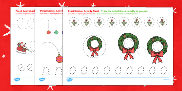 Christmas Pencil Control Activity Sheets English/Polish - Christmas Pencil Control Worksheets - worksheet, motor, skills, pencilcontrol, chritmas, chriatmas,