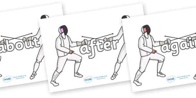 KS1 Keywords on Fencing - KS1, CLL, Communication language and literacy, Display, Key words, high frequency words, foundation stage literacy, DfES Letters and Sounds, Letters and Sounds, spelling