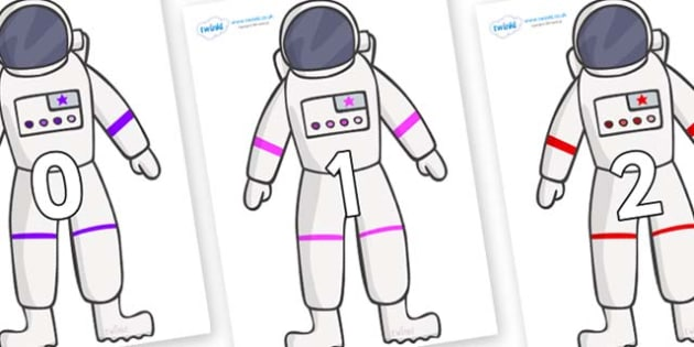 Numbers 0-50 on Astronaut - 0-50, foundation stage numeracy, Number recognition, Number flashcards, counting, number frieze, Display numbers, number posters