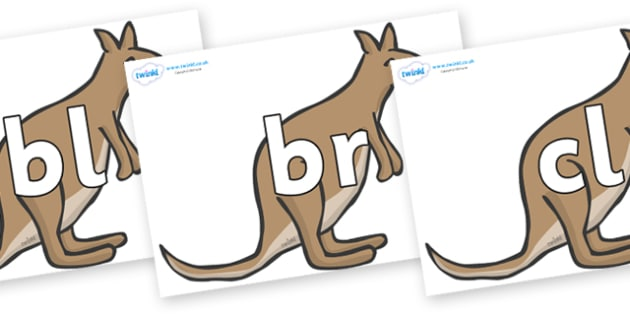 Initial Letter Blends on Kangaroos - Initial Letters, initial letter, letter blend, letter blends, consonant, consonants, digraph, trigraph, literacy, alphabet, letters, foundation stage literacy