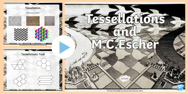 M.C. Escher And Tessellations   PowerPoint - Escher, MC Escher, tessellation, tessellation design, patterns.