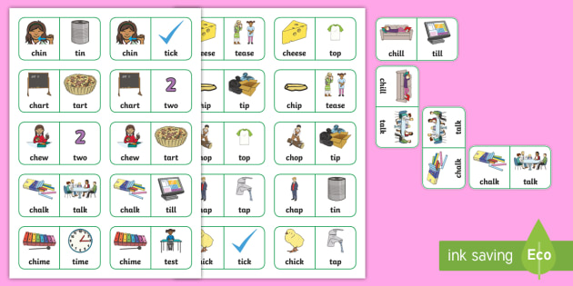'ch' and 't' Minimal Pair Dominoes - stopping, affricates, speech sounds, articulation, minimal pairs, dyspraxia, phonology, speech and l