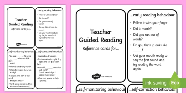 Teacher Guided Reading Reference Notes - guided reading, notes