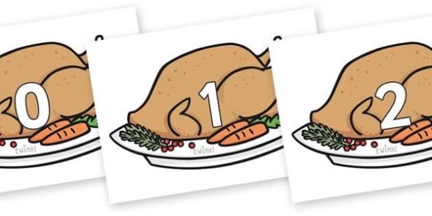 Numbers 0-100 on Christmas Turkeys - 0-100, foundation stage numeracy, Number recognition, Number flashcards, counting, number frieze, Display numbers, number posters