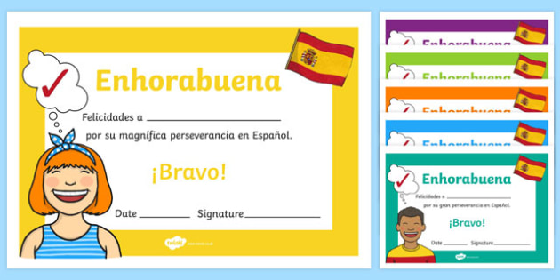 Spanish End of Year Resilience Award Certificate