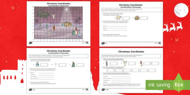 Year 4 Christmas Coordinates Activity English/Romanian - Year 4 Christmas Coordinates Activity - year 4, coordinates, activity, maths, mathematics, coordinat