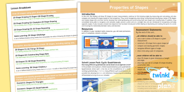PlanIt Maths Y6 Properties of Shapes Overview