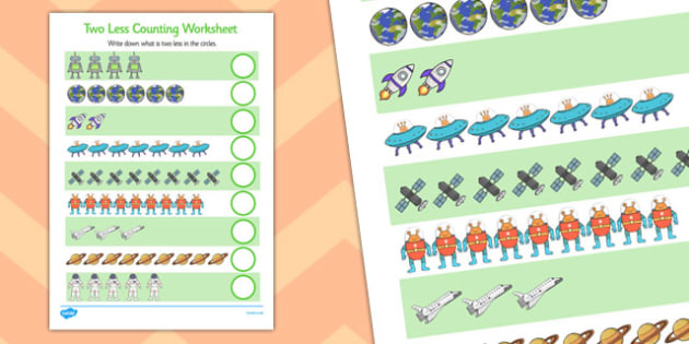 Space Themed Two Less Counting Worksheet -maths, numeracy, KS1, key stage 1, counting, numbers, subtraction