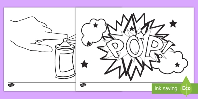 Roy Lichtenstein Inspired Colouring Pages - artist, pop art