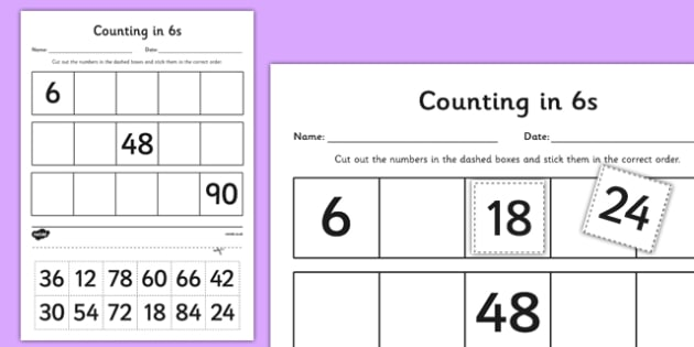 Counting in 6s Cut and Stick Worksheet / Activity Sheet - counting, count, cut and stick, activity, 6s, worksheet