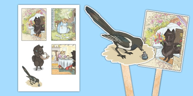 Beatrix Potter - The Tale of the Pie and the Patty Pan Stick Puppets - beatrix potter, pie, patty pan, stick puppets