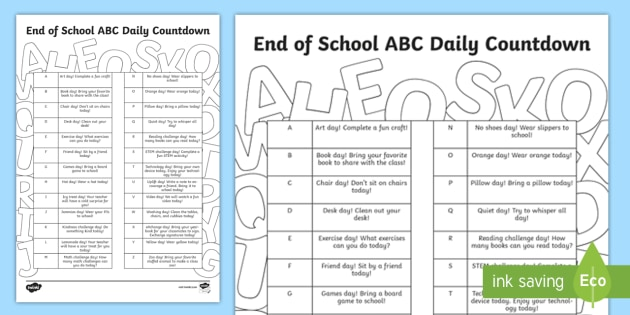 end of school year abcs daily countdown worksheet activity