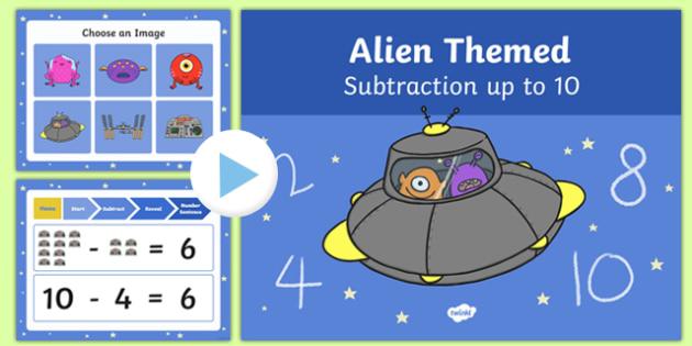 Alien Themed Subtraction to 10 PowerPoint - alien, subtraction, powerpoint, 10