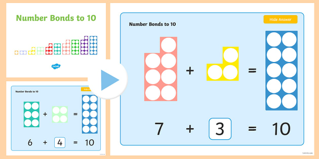 Number Bonds to 10 Challenge Cards PowerPoint - KS1 Maths