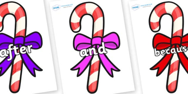 Connectives on Candy Canes (Bows) - Connectives, VCOP, connective resources, connectives display words, connective displays