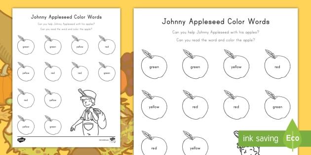Johnny Appleseed Color Words Worksheet Activity Sheet Johnny