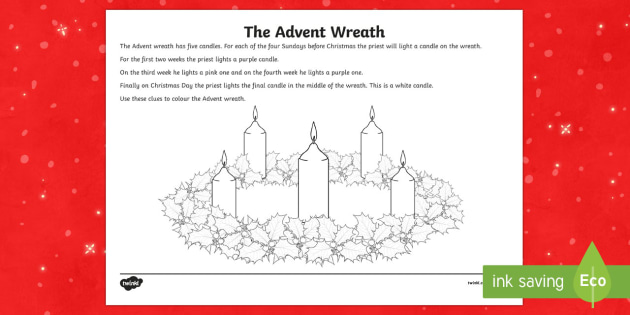 Advent Wreath Colouring Activity Sheet-Irish