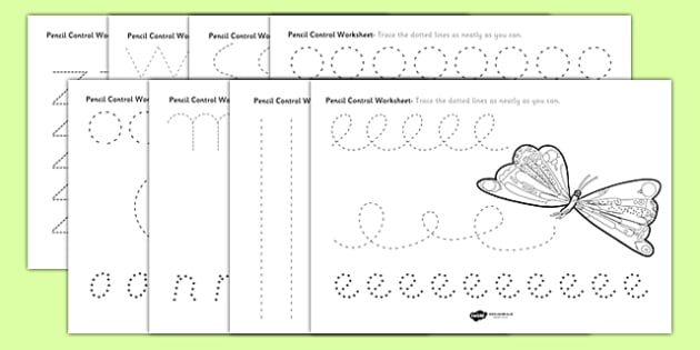 Pencil Control Worksheets to Support Teaching on The Very Hungry Caterpillar - the very hungry caterpillar, pencil control sheets, themed pencil control sheets