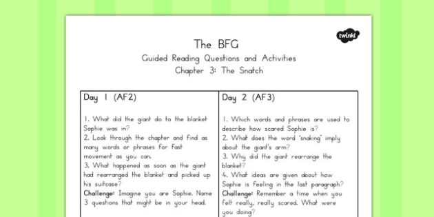 Guided Reading Questions Chapter 3 to Support Teaching on The BFG - australia, bfg, guided reading