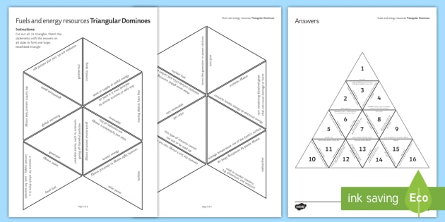 Energy in Fuels Tarsia Triangular Dominoes - Tarsia, Dominoes, Energy, Fuels, Energy in Fuels, plenary activity