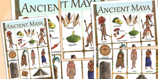 Maya Civilization Vocabulary Mat - mayan, history, visual aid