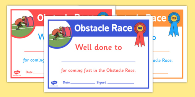 Sports Day Obstacle Race Certificates - sports day, certificates