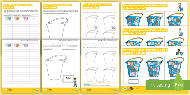 UKS2 BBC Children in Need How Much Money in Pudsey's Bucket? Maths Differentiated Worksheets