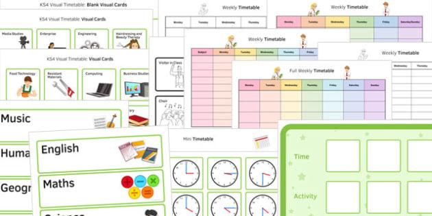 KS4 Visual Timetable Resource Pack - ks4, visual timetable, pack