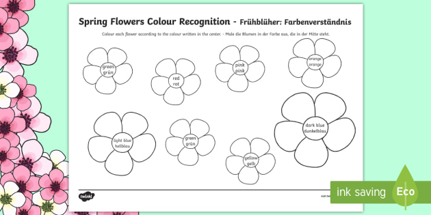 Spring Flowers Colour Recognition Colouring Page Englishgerman