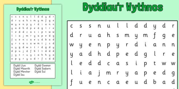 dyddiau 39 r wythnos word search cymraeg welsh cymraeg days. Black Bedroom Furniture Sets. Home Design Ideas