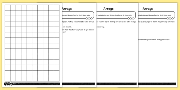 Using Arrays for the Ten Times Table Differentiated Activity Sheets - Multiplication and Division, 10x tables, multiplication facts, year 2, Recall and use multiplication