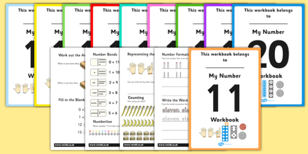 Number Workbooks 11 to 20 - maths, numeracy, ks1, ks2, sen, help activity, set, pack, home, learning, work, assessment, extension, eleven, twenty, formation, adding, counting