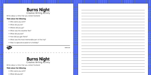Burns Night Creative Writing Activity - Elderly, Reminiscence, Care Homes, Burns' Night