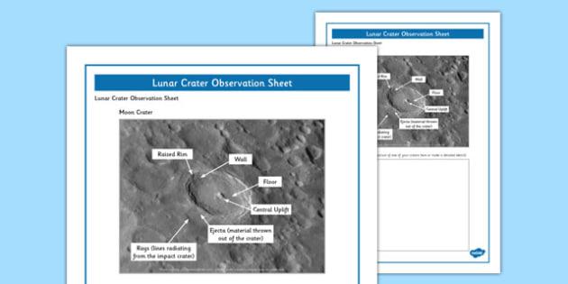 Lunar Craters Observation Sheet - lunar craters, observation, sheet