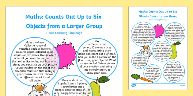 EYFS Maths: Counts Out Up to Six Objects from a Larger Group Home Learning Challenge Sheet