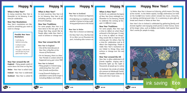 KS1 New Year Differentiated Fact File - KS1/2 New Year resources (January), 31st, 1st, December, January, resolution, celebration, new, new