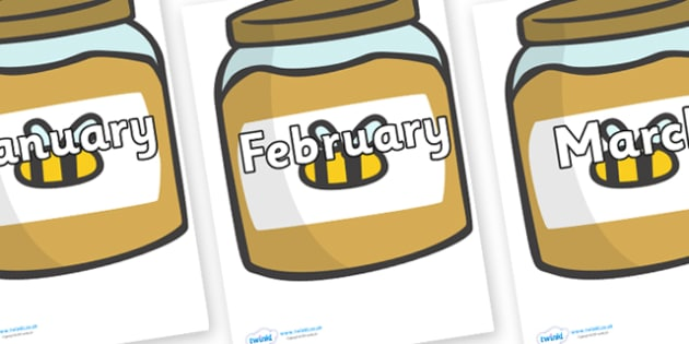 Months of the Year on Honey Jars - Months of the Year, Months poster, Months display, display, poster, frieze, Months, month, January, February, March, April, May, June, July, August, September