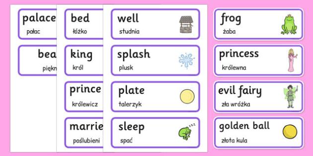 The Frog Prince Word Cards Polish Translation - polish, frog prince, word cards, frog, prince