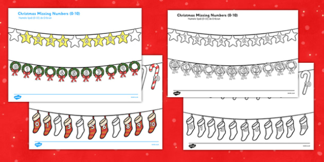 Christmas Missing Numbers 0-10 Romanian Translation - romanian, christmas, missing numbers, missing, numbers, 0-20