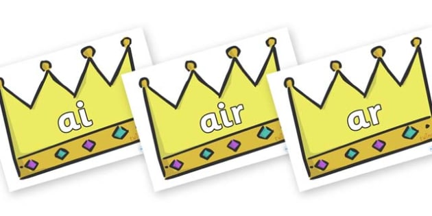 Phase 3 Phonemes on Crowns (Plain) - Phonemes, phoneme, Phase 3, Phase three, Foundation, Literacy, Letters and Sounds, DfES, display