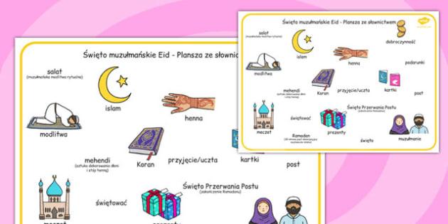 Plansza ze słownictwem Eid święto islamskie po polsku - szkoła , Polish