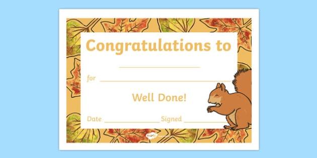 Autumn Woodland Squirrel Certificate - award, rewards, animals, early years, KS1, ks2, key stage 1, key stage 2, praise