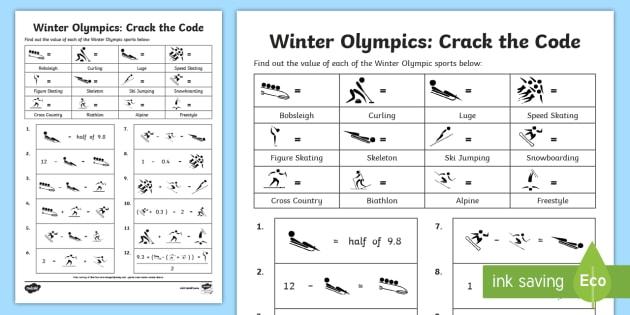 Uks2 Winter Olympics Crack The Code Worksheet Activity Sheet