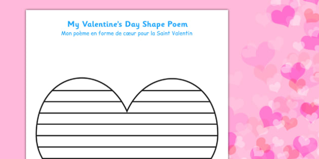 Valentine\'s Day Shape Poetry Template French Translation